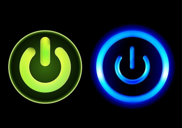 Drucktasten power in grün und blau