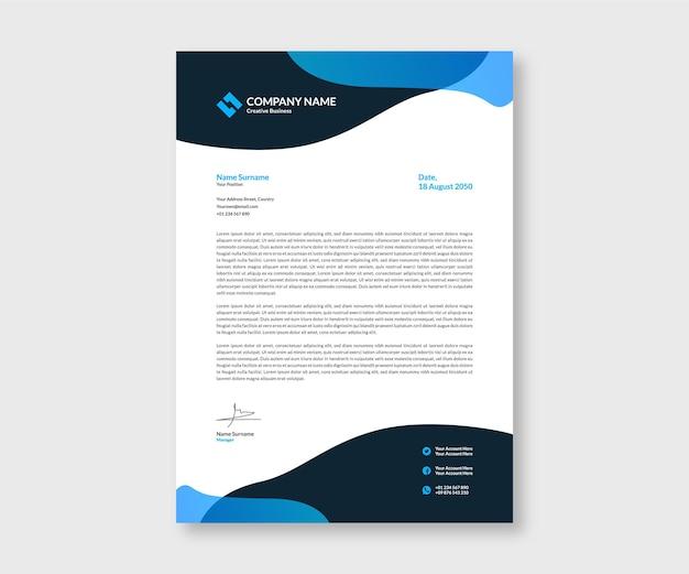 Druckvorlage für fließenden blauen briefkopf