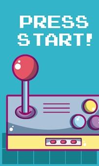 Drücken sie anfangsvideospielfahne mit gamepadvektor-illustrationsgrafikdesign