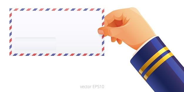 Drücken sie die luftpost in der hand des piloten mit einem ärmelgeflecht aus. die hand des postboten der fluggesellschaft hält einen leeren dl-umschlag mit roten und blauen streifen an den rändern. illustration.