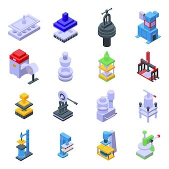Drücken sie die symbole für die formularmaschinen. isometrischer satz pressformmaschinenvektorikonen für das webdesign lokalisiert auf weißem hintergrund