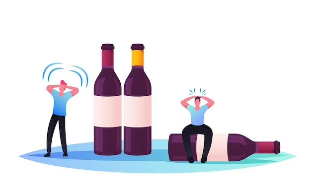 Drunk men kater-syndrom aufgrund von alkoholabhängigkeit