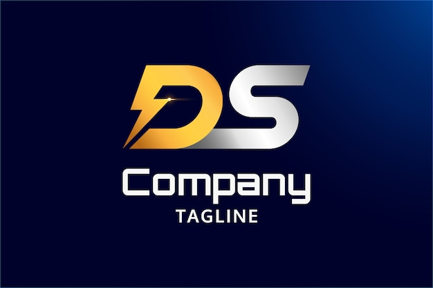 Ds-logo-vorlage mit glänzenden initialen