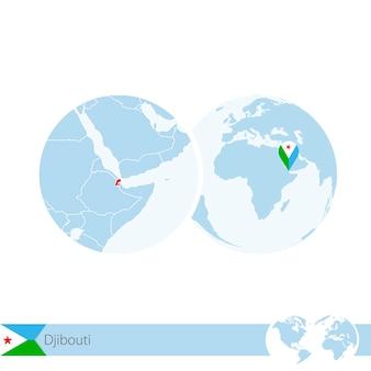 Dschibuti auf der weltkugel mit flagge und regionaler karte von dschibuti. vektor-illustration.