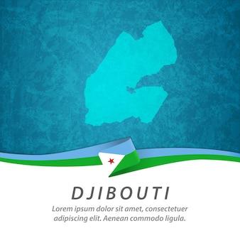 Dschibuti flagge mit zentraler karte