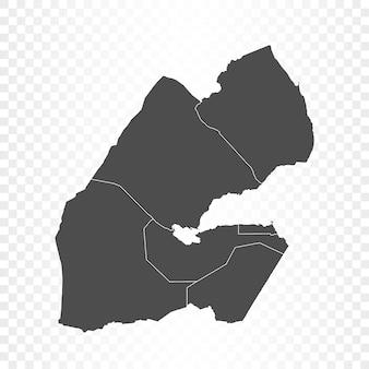 Dschibuti-karte isoliert auf transparent Premium Vektoren
