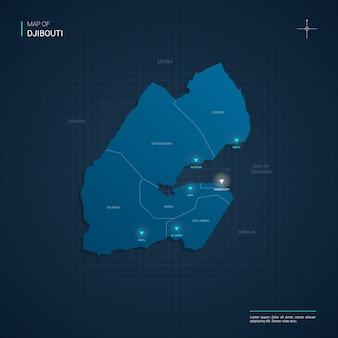 Dschibuti-karte mit blauen neonlichtpunkten - dreieck auf dunkelblauem farbverlauf