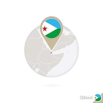 Dschibuti-karte und flagge im kreis. karte von dschibuti, dschibuti-flaggenstift. karte von dschibuti im stil der welt. vektor-illustration.