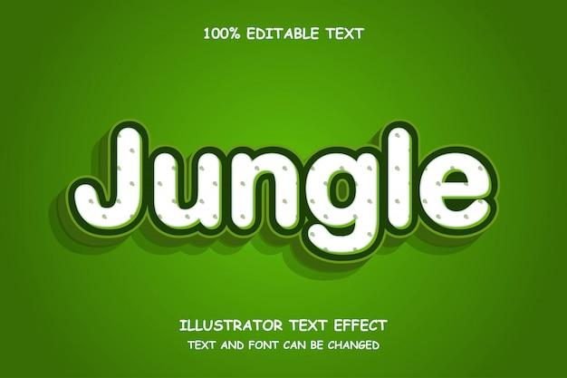 Dschungel, 3d bearbeitbarer texteffekt-schattenprägungsstil Premium Vektoren