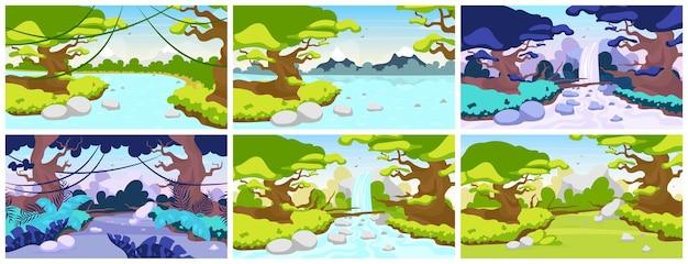 Dschungel flach. mediterrane fauna. tropenwaldlandschaft. panoramaszene mit bäumen und flüssen. exotisches wildes land. amazonas wasserfall. regenwald