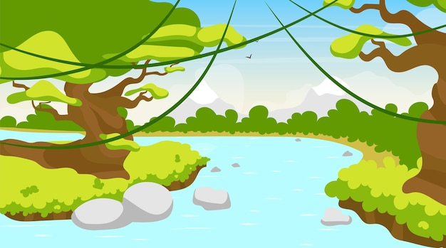 Dschungel fluss flach. mittelmeersee. tropisches gewässer. panoramaszene mit bäumen und lianen. flussufer, riverbrook. exotischer amazonasstrom. wasserlaufkarikaturhintergrund