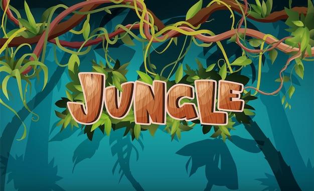 Dschungel-hand-schriftzug holztext texturierte cartoon-buchstaben liana oder weinranken gewundenen zweigen mit tro