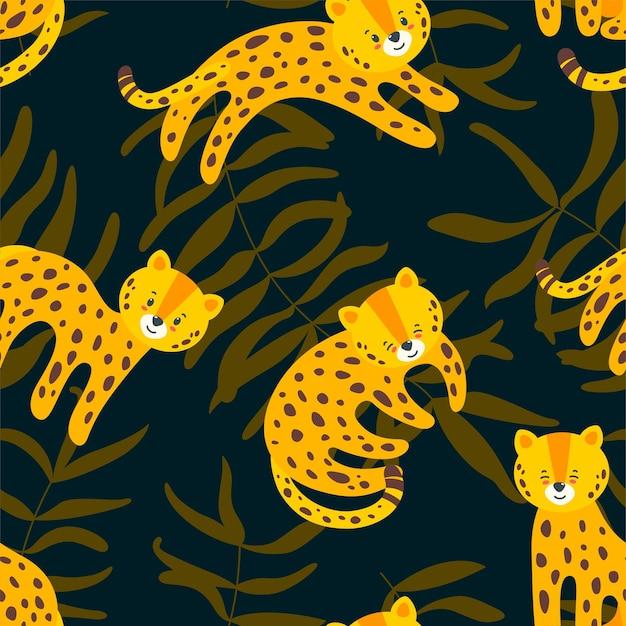 Dschungel nahtloses muster mit dynamischen leoparden im dunkelblauen hintergrund