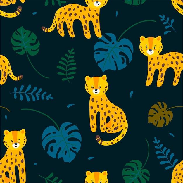 Dschungel nahtloses muster mit leoparden und blättern im dunkelblauen hintergrund