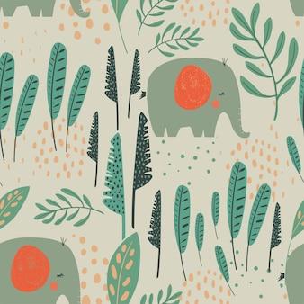 Dschungel nahtloses muster mit lustigen elefanten und tropischen elementen hand gezeichnet