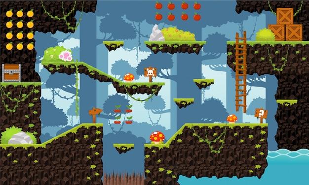 Dschungel-plattformer tileset