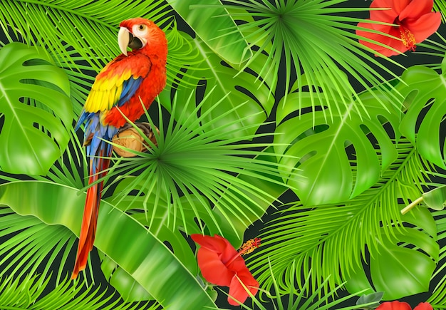 Dschungelblätter und papagei, nahtloses muster. 3d-vektor realistisch