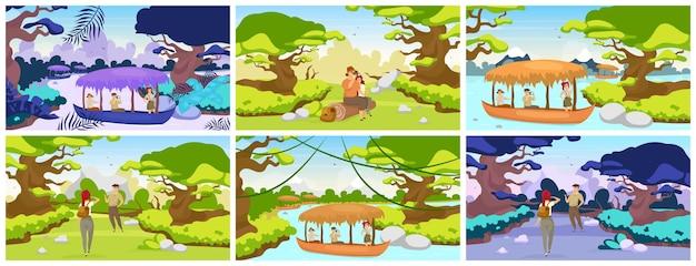 Dschungelexpeditionswohnung. touristen reisen in den tropenwald. paar sitzt auf baumstamm. wanderer beobachten die panoramalandschaft. gruppe im boot auf dem fluss. weibliche und männliche zeichentrickfiguren