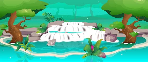 Dschungelfarbillustration. wasserfall in der oase. exotischer wald. reisen sie, um sich in der nähe des wasserstroms im regenwald zu entspannen. wilde natur. tropische karikaturlandschaft mit grün auf hintergrund