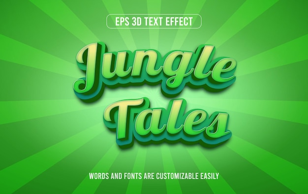 Dschungelgeschichten grüner bearbeitbarer 3d-texteffektstil