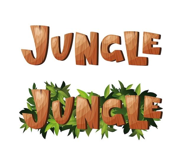 Dschungelhand, die hölzernen text beschriftet. strukturierte cartoon-buchstaben. vektor-illustration.