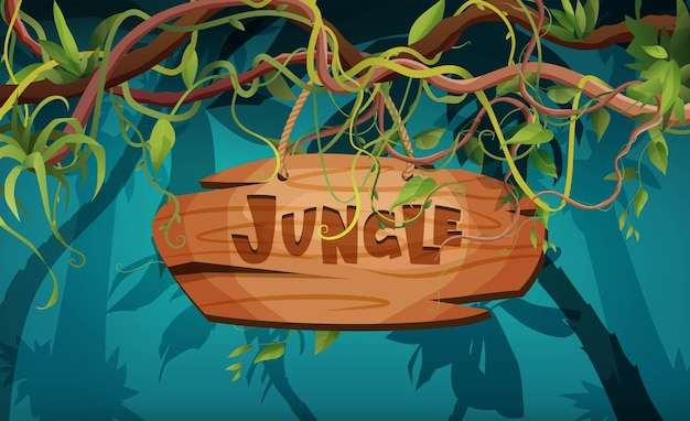 Dschungelhandbeschriftung holztext liana oder rankenwindung zweige regenwald tropische kletterpflanzen