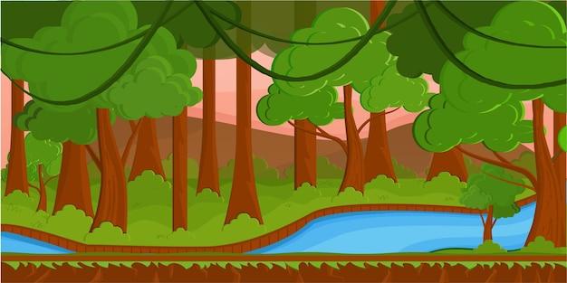 Dschungelhintergrund im flachen vektordesign