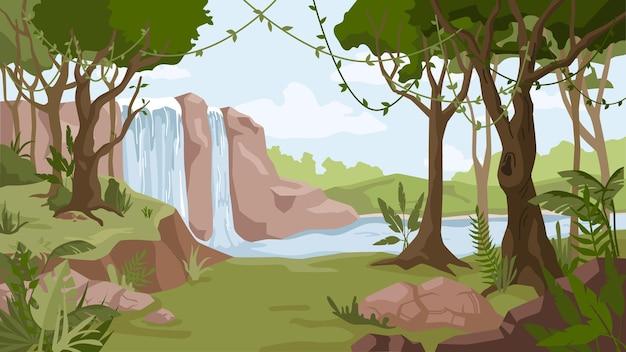 Dschungellandschaft wasserfall fluss strömt wald