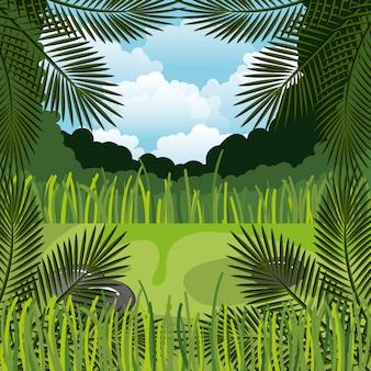 Dschungellandschaftshintergrund lokalisiertes ikonendesign