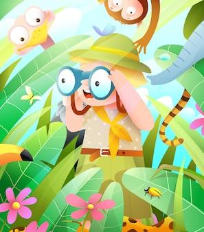 Dschungelsafari-abenteuerscout-kind, das in fernglas sucht, um tiere im laub zu verstecken