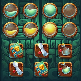 Dschungelschamanen gui buttons kit elemente