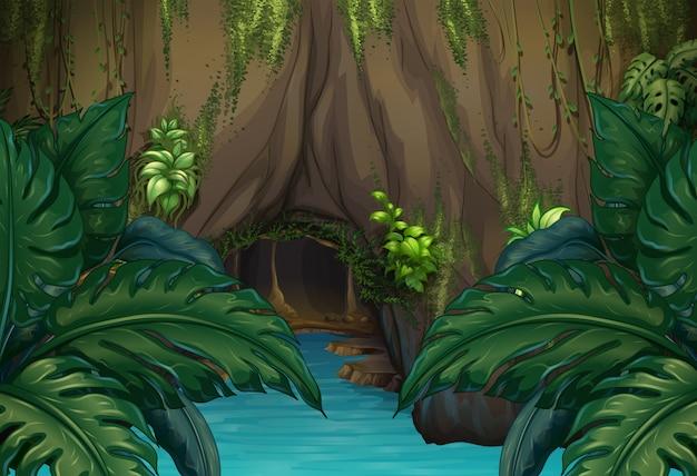 Dschungelszene mit fluss und höhle