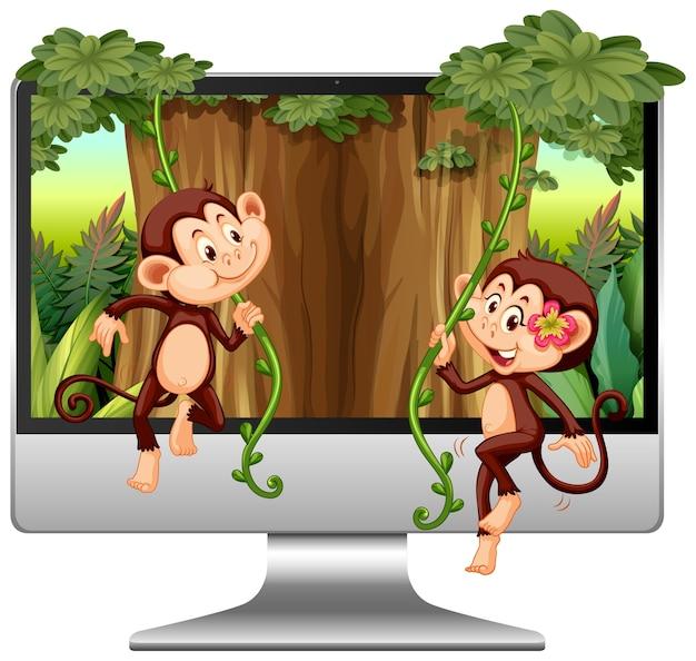 Dschungelthema auf computerbildschirm