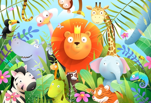 Dschungeltiere für kinder mit könig der löwen im tropischen wald und tierbabys freunde für kinder