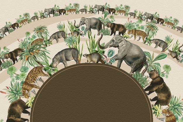 Dschungeltiere halbkreisförmiger rahmenvektor mit designraum