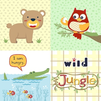 Dschungeltierkarikatur, karikatur der wild lebenden tiere