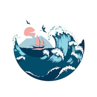 Dschunke, die auf den meereswellen schwimmt. handgezeichnetes design-element-segelschiff. vintage-vektor-gravur-illustration für poster, etikett, poststempel.