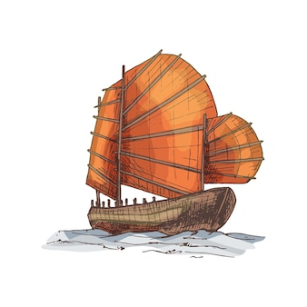 Dschunke, die auf den meereswellen schwimmt. vvintage-vektor-schraffur-illustration.