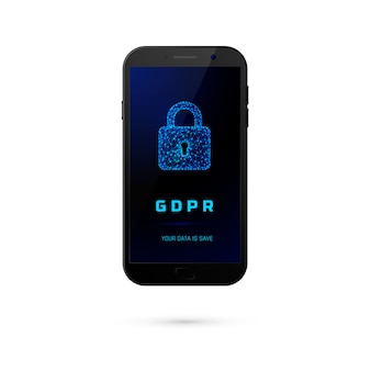 Dsgvo - allgemeine datenschutzsicherheit. telefon mit vorhängeschloss auf dem bildschirm auf weißem hintergrund. illustration