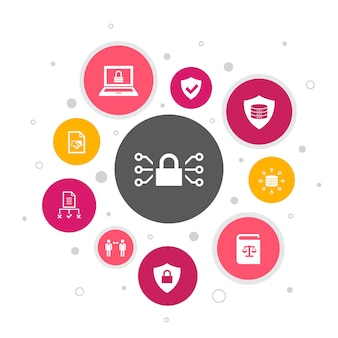 Dsgvo infografik 10 schritte pixel design.data, e-privacy, vereinbarung, schutz einfache symbole