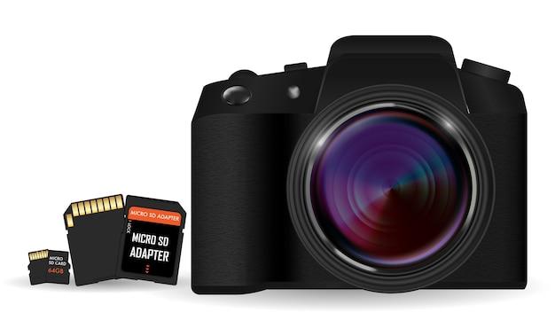 Dslr-kamera mit sd- und micro sd-kartenspeicher