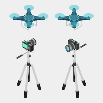 Dslr-kamera, stativ und drohne