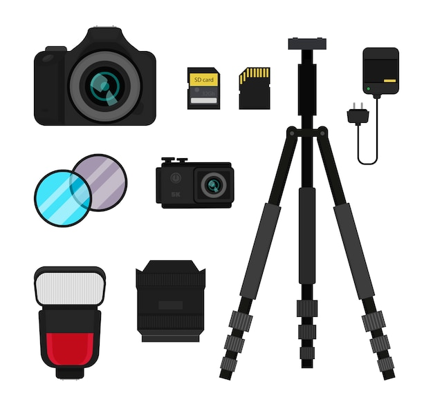 Dslr und action-kamera, blitz, stativ, objektiv und filter, ladegerät und speicherkarten.