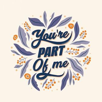 Du bist ein teil von mir hochzeit schriftzug