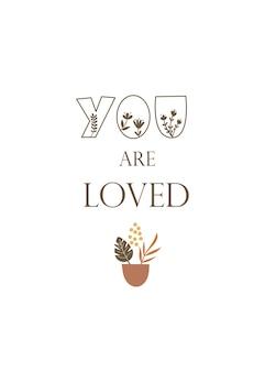 Du bist geliebt - grußkarten-vorlagendesign. vektor-illustration.