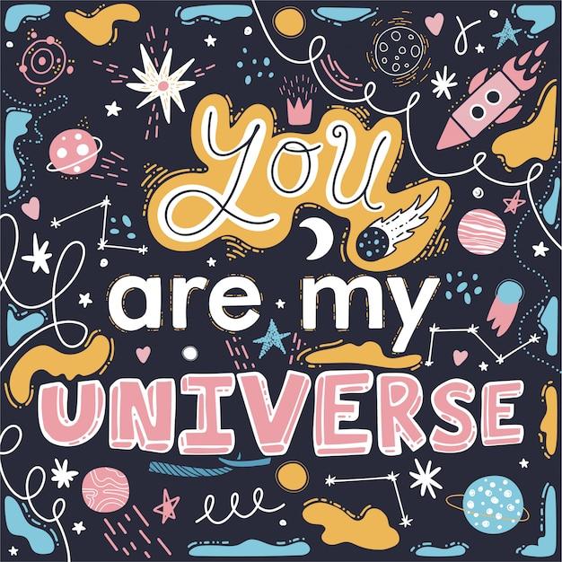 Du bist mein universum. raketen, sterne, planeten.