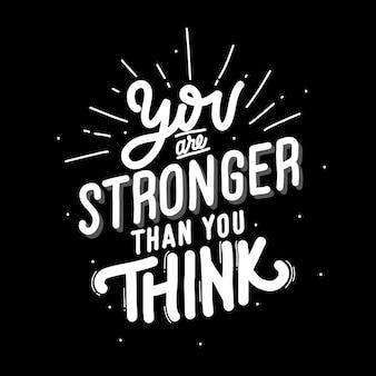 Du bist stärker als du denkst. zitat schriftzug über katze. illustration mit handgezeichneter beschriftung.