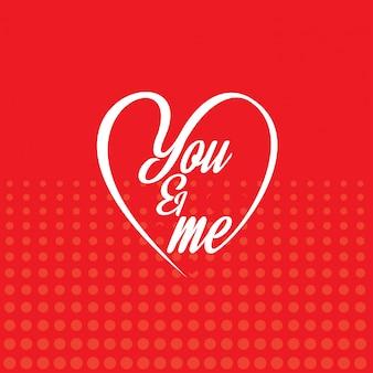Du und ich mit rotem musterhintergrund