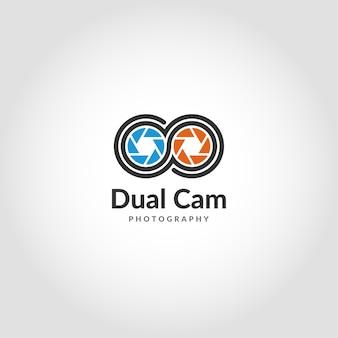 Dual camera logo ist ein modernes logo für mobile fotografie