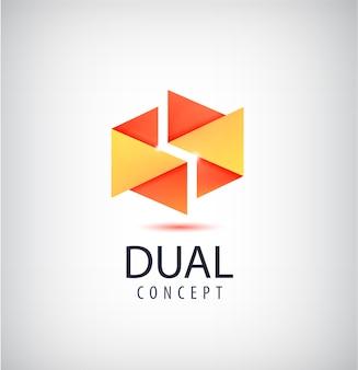 Dual concept logo, origami 2 teile symbol. kreative idee zur unternehmensidentität